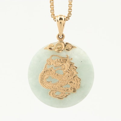 Chinese 14K Yellow Gold Jadeite Pendant Necklace