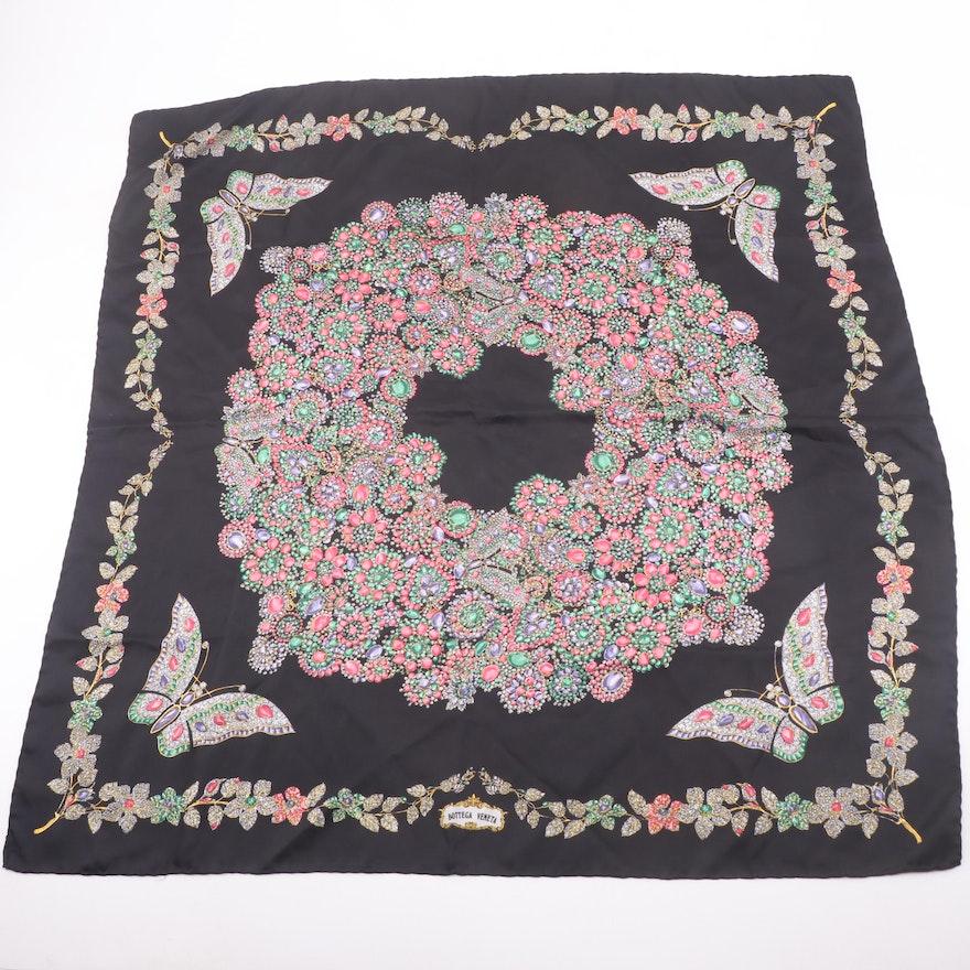 Bottega Veneta Multicolor Silk Scarf in Jewel Wreath and Garland Butterfly Print