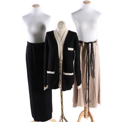 St. John Basics Skirt, Barbara Katz Skirt, and Neiman Marcus Cashmere Sweater