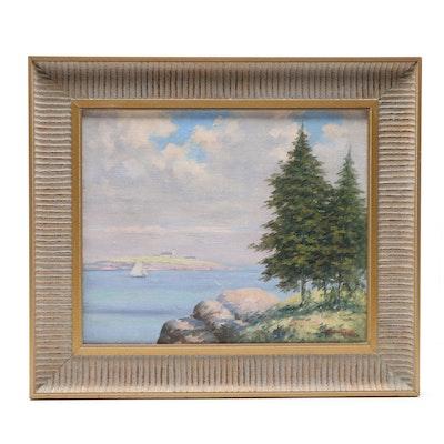Albert Wyndon Merchant 1915 Oil Painting Landscape Overlooking the Bay