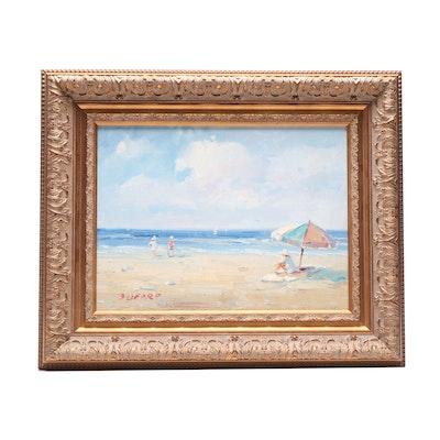Marie Burford Oil Painting Beach Scene