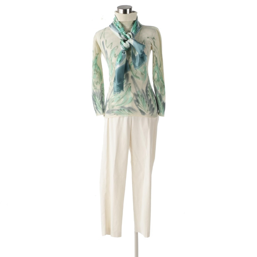 De Redly Paris Handpainted Cashmere Turtleneck with Coordinating Scarf and Pants