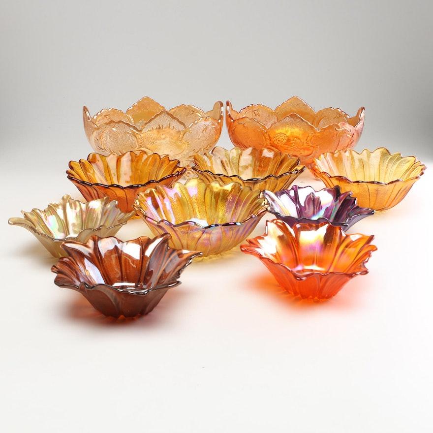 Iridescent Carnival Glass Bowls