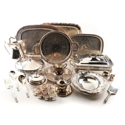 Silver Plate Serving Pieces Including Wallace and Oneida
