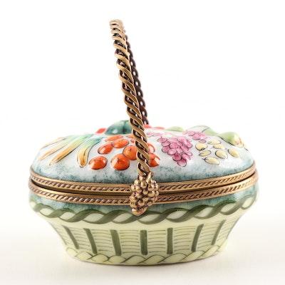Limoges Hand-Painted Porcelain Fruit Basket Trinket Box