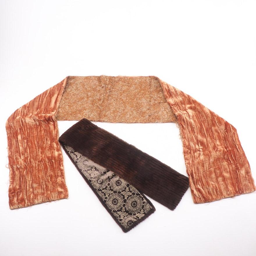 Scarves Including Sheared Rabbit Fur, Vintage