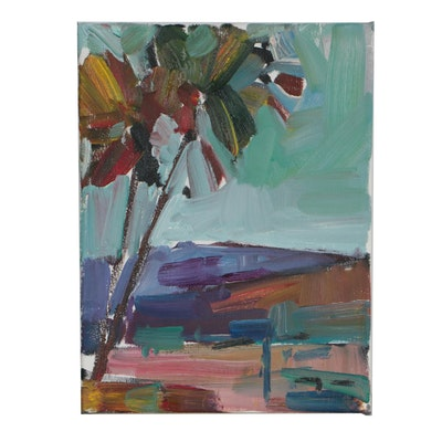 "Jose Trujillo 2019 Oil Painting ""Palm Morning"""