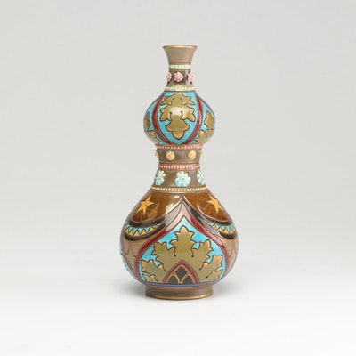 French Sarreguemine Faïence Bud Vase, Late 19th Century