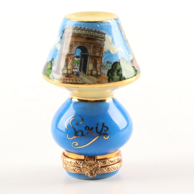 Limoges Hand-Painted Porcelain Limited Edition Parisian Lamp Trinket Box