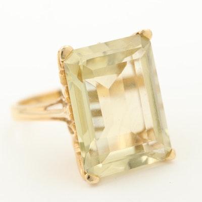 14K Yellow Gold 12.00 CT Citrine Ring