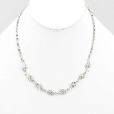 18K White Gold 1.06 CTW Diamond Necklace
