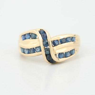 14K Yellow Gold Blue Sapphire Ring