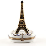 Limoges Hand-Painted Porcelain Eiffel Tower Trinket Box