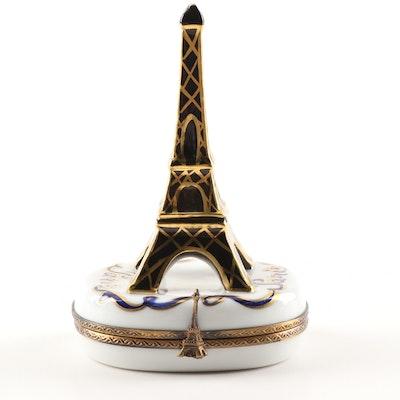 Limoges Hand-Painted Porcelain Eiffel Tower Trinket Box