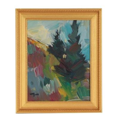 "Jose Trujillo Landscape Oil Painting ""Pine Hillside"""