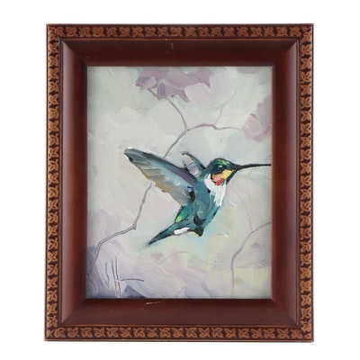 William Hawkins Oil Painting of Ruby-Throated Hummingbird