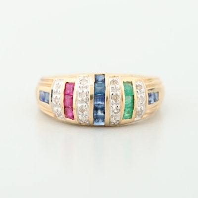 14K Yellow Gold Blue Sapphire, Ruby and Emerald Ring