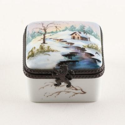 Limoges Hand-Painted Porcelain Winter Scene Trinket Box