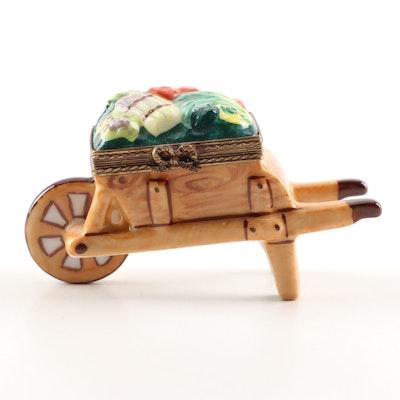 Limoges Hand-Painted Porcelain Vegetable Wheelbarrow Trinket Box