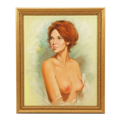 Mid 20th Century Oil Portrait Painting of Woman