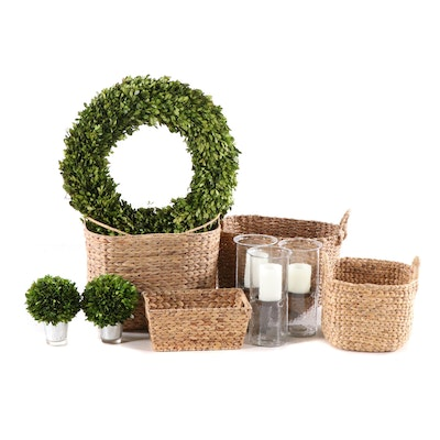 Home Decor including Baskets and Faux Boxwood Greenery