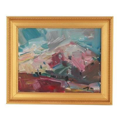 "Jose Trujillo Oil Painting ""Mountainside Light"""