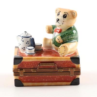 Parry Vieille Limoges Hand-Painted Porcelain Teddy Bear Trinket Box