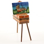 Limoges Hand-Painted Porcelain Painting Easel Trinket Box