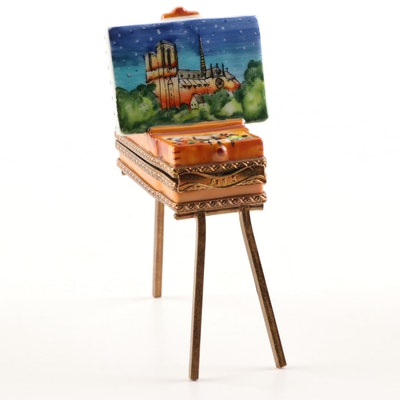 Parry Vieille Limoges Hand-Painted Porcelain Painting Easel Trinket Box