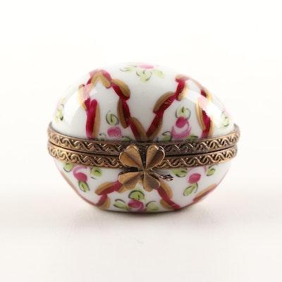 Limoges Hand-Painted Porcelain Egg Trinket Box