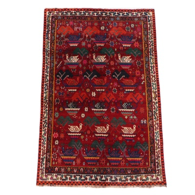 Hand-Knotted Persian Qashqai Shiraz Pictorial Wool Rug