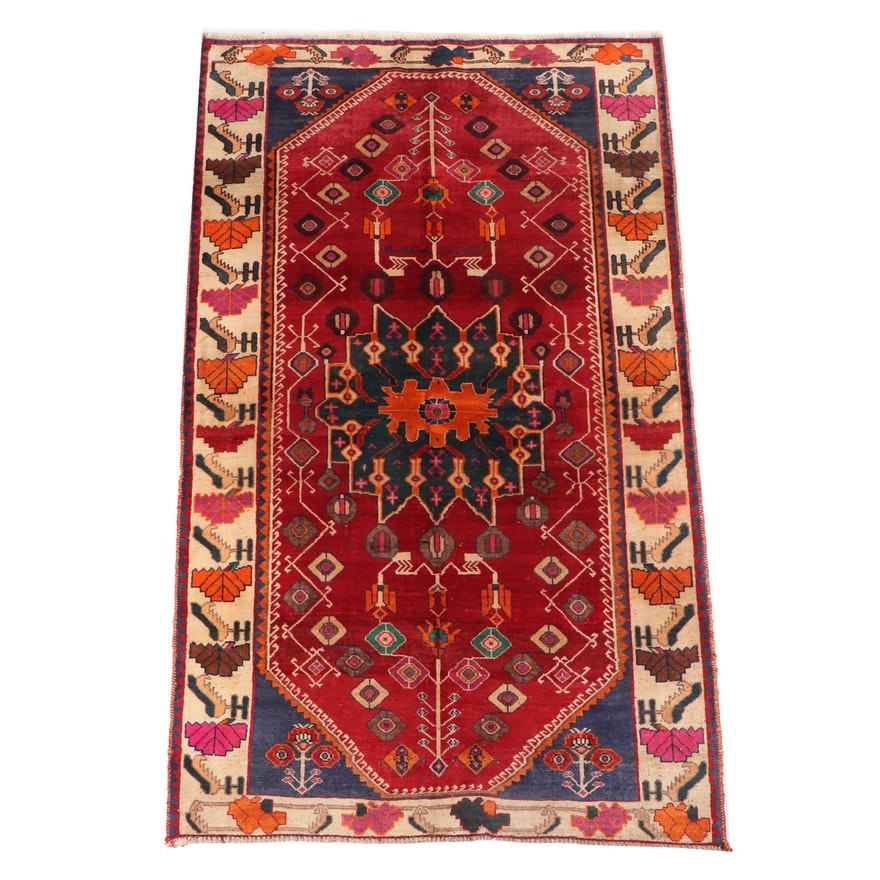 Hand-Knotted Inscribed Persian Wool Rug