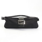 Fendi Black Neoprene and Leather Baguette Shoulder Bag