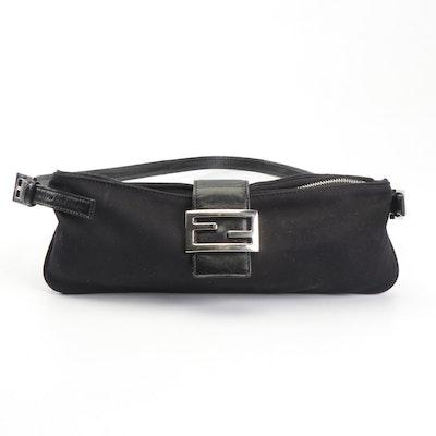 Fendi Black Neoprene and Leather Baguette Shoulder Bag