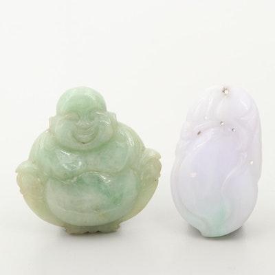 Chinese Carved Jadeite Budai and Pendant