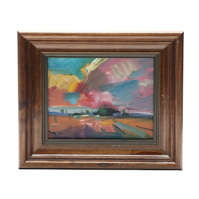 "Jose Trujillo Abstract Oil Painting ""Pink Sunset"""