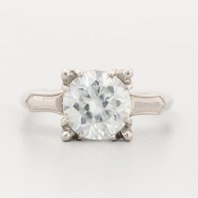 Vintage 14K White Gold Cubic Zirconia Ring