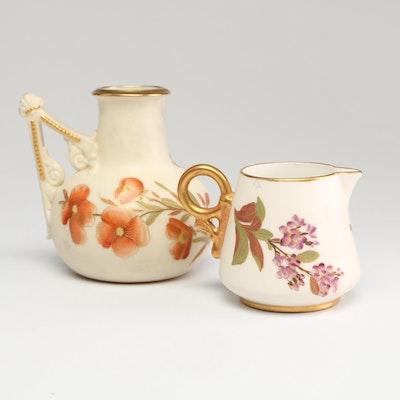 Royal Worcester Porcelain Creamer and Ewer, Circa 1887