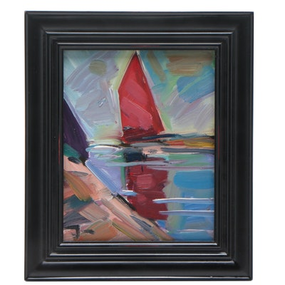"Jose Trujillo Abstract Oil Painting ""Red Sailboat"""