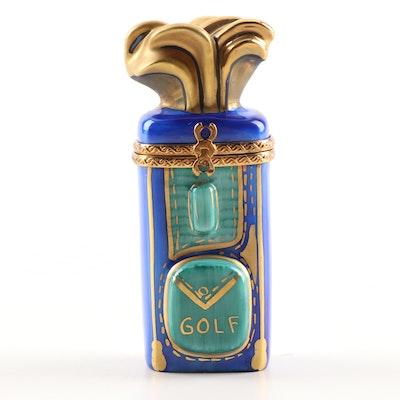 Rochard Limoges Hand-Painted Porcelain Golf Set Trinket Box