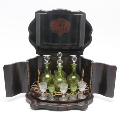 Napoleon III Tantalus Cabinet with Decanter and Cordial Set, 19th Century
