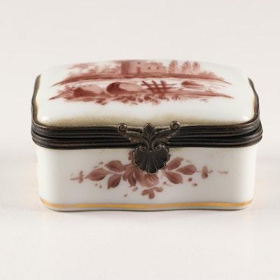 French Porcelain Pastoral Scene Trinket Box