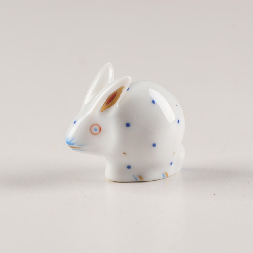Herend Porcelain Polka-dot Miniature Rabbit
