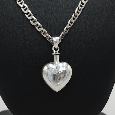 Sterling Silver Perfume Bottle Pendant Necklace