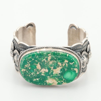 Darrell Cadman Navajo Sterling Silver Turquoise Cuff Bracelet