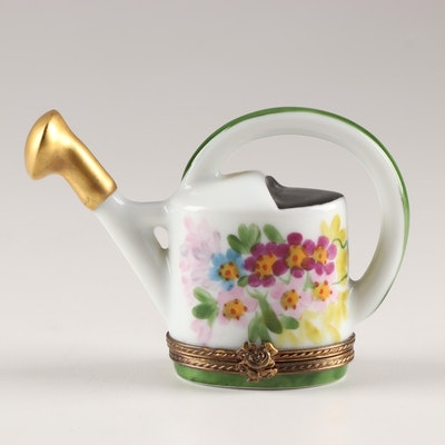Limoges Hand-Painted Porcelain Watering Can Trinket Box