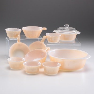 Fire King Peach Luster Bakeware, Mid to Late 20th Century
