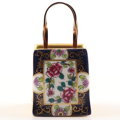 Limoges Hand-Painted Porcelain Floral Motif Purse Trinket Box