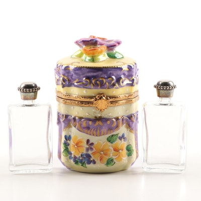 French Hand-Painted Porcelain Limited Edition Perfume Chest Trinket Box