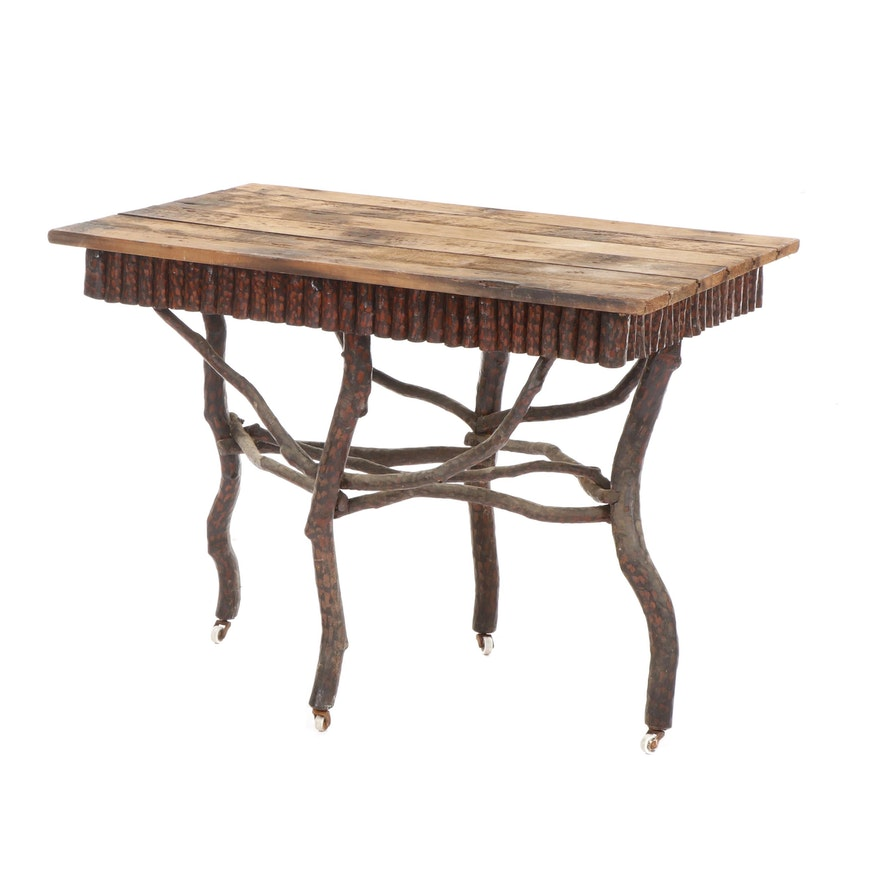 Adirondack Style Twig Table with Oak Top, Early to Mid 20th Century